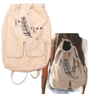 Tan 'Be Free' Canvas Bucket Backpack Luv Surf